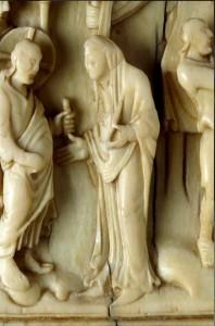 Bodas de Caná. Detalle marfil carolingio siglo IX