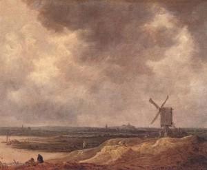 Jan-van-Goyen-Windmolen-bij-een-rivier